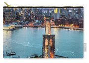 Aerial Of New York City  And Brooklyn Bridge At Dusk Carry-all Pouch