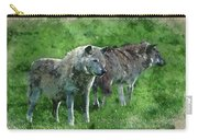 Digital Watercolor Painting Of Beautiful Timber Wolf Cnis Lupus  Carry-all Pouch