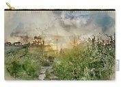Digital Watercolor Painting Of Beautiful Vibrant Summer Sunrise  Carry-all Pouch