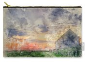 Digital Watercolor Painting Of Old Barn In Landscape At Sunset Carry-all Pouch