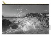 Ocean Wave Splash In Black And White Carry-all Pouch