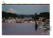 Pink Purple Glow Over Mount Rainier And Gig Harbor Marina After Sunset Carry-all Pouch