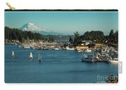Sailboats At Gig Harbor Marina With Mount Rainier In The Background Carry-all Pouch