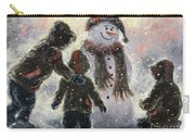 Snowman And Three Boys Carry-all Pouch