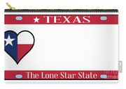Texas State License Plate Carry-all Pouch