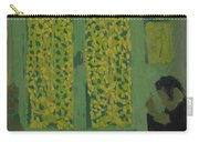 The Green Interior  Figure Seated By A Curtained Window   Carry-all Pouch