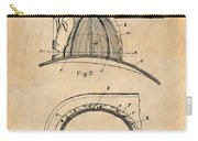 1889 Hopkins Fireman's Hat Antique Paper Patent Print Carry-all Pouch