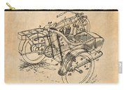 1913 Side Car Attachment For Motorcycle Antique Paper Patent Print Carry-all Pouch