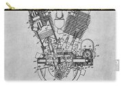 1914 Spacke V Twin Motorcycle Engine Gray Patent Print Carry-all Pouch