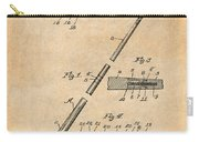 1917 Billiard Pool Cue Antique Paper Patent Print Carry-all Pouch