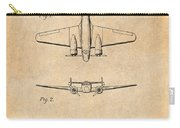 1934 Lockheed Model 10 Electra Airliner Patent Antique Paper Carry-all Pouch