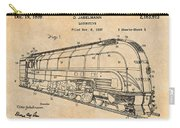 1937 Jabelmann Locomotive Antique Paper Patent Print Carry-all Pouch