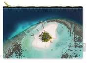 Aerial Drone View Of A Tropical Island, Maldives Carry-all Pouch