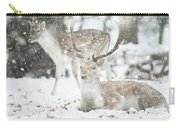 Beautiful Image Of Fallow Deer In Snow Winter Landscape In Heavy Carry-all Pouch
