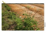 Field With Brown Cut Flax In Rows Drying In The Sun Carry-all Pouch