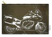 2016 Bmw K1600gt Blueprint, Original Motorcyclkes Blueprints, Bmw Artworks, Vintage Brown Background Carry-all Pouch
