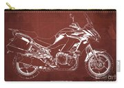 2018 Kawasaki Versys 1000 Lt Abs Blueprint Old Vintage Red Background Original Artwork Carry-all Pouch