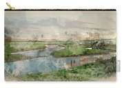 Digital Watercolor Painting Of Beautiful Dawn Landscape Over Eng Carry-all Pouch