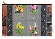 Orchids Antique Quadro Weathered Plank Rusty Metal Carry-all Pouch