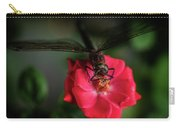 Dragonfly On A Flower Of A Red Rose. Macro Photo Carry-all Pouch