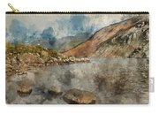 Digital Watercolor Painting Of Beautiful Sunset Landscape Image  Carry-all Pouch