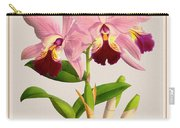 Orchid Vintage Print On Colored Paperboard Carry-all Pouch