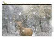 Beautiful Red Deer Stag In Snow Covered Festive Season Winter Fo Carry-all Pouch