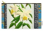 Orchid Framed On Weathered Plank And Rusty Metal Carry-all Pouch