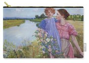 A Mother And Child By A River With Wild Roses 1919 Carry-all Pouch