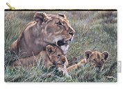 A Quiet Moment Lioness And Lion Cubs Carry-all Pouch by Alan M Hunt