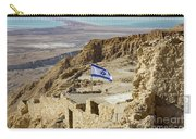 An Israeli Flag Flies Near The Entrance To The Top Of Masada In  Carry-all Pouch