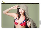 Army Pinup Saluting Retro Fashion In 1940 Style Carry-all Pouch