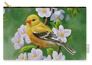 Female American Goldfinch And Apple Blossoms Carry-all Pouch