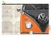 Volkswagen Type 2 - Black And Orange Volkswagen T1 Samba Bus Over Vintage Sketch  Carry-all Pouch