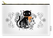 Kitty Kitty Sitting Pretty With Flowers All Around Carry-all Pouch