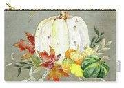 Autumn Celebration - 4 Happy Fall Y'all White Pumpkin Fall Leaves Gourds Carry-all Pouch