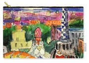 Barcelona By Moonlight Watercolor Painting By Mona Edulesco Carry-all Pouch