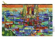 Barcelona Orange View - Sagrada Familia View From Park Guell - Abstract Palette Knife Oil Painting Carry-all Pouch