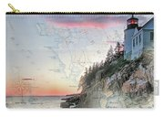 Bass Harbor Lighthouse On A Chart Carry-all Pouch