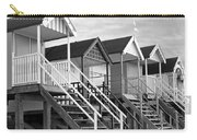 Beach Huts Sunset In Black And White Square Carry-all Pouch