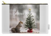 Believe Christmas Tree Squirrel Square Carry-all Pouch