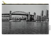 black and white panorama of Vancouver from plaza of nations showing the beautiful city Carry-all Pouch