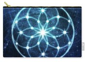 Blue Cosmic Geometric Flower Mandala Carry-all Pouch