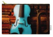Blue Violin And Old Books Carry-all Pouch