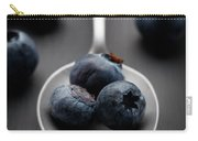 blueberries and a silver spoon on distressed wood No. 2 Carry-all Pouch