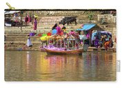 Boat And Bank Of The Narmada River, India Carry-all Pouch