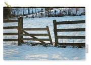 Broken Fence In The Snow At Sunset Carry-all Pouch