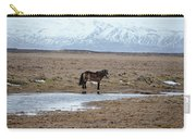 Brown Icelandic Horse In Profile Near Stream Carry-all Pouch