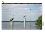 Brown Pelicans On Pilings And An Osprey Nest In The Tarpon Bay A Carry-all Pouch