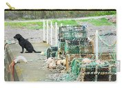Burnmouth Harbour With Dog On Pier And Lobster Pots Carry-all Pouch
